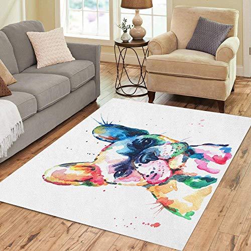 Pinbeam Area Rug Frenchie French Bulldog Original Watercolor of Dog Funny Home Decor Floor Rug 2' x 3' Carpet