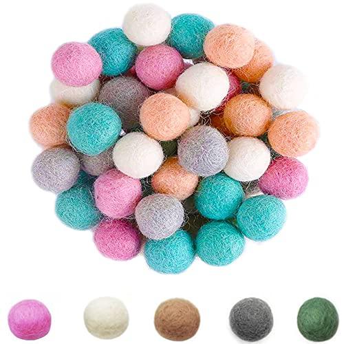 50 Piezas Bola de Fieltro, Pompones de Fieltro, Cuentas de Fieltro de Lana, para Diseño Ambiental, Decoración, Ropa, Acolchado (5 Colores)