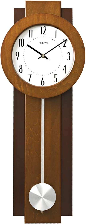 Bulova C3383 Avent Pendulum Deco Wall Clock, 18 , Walnut Mahogany
