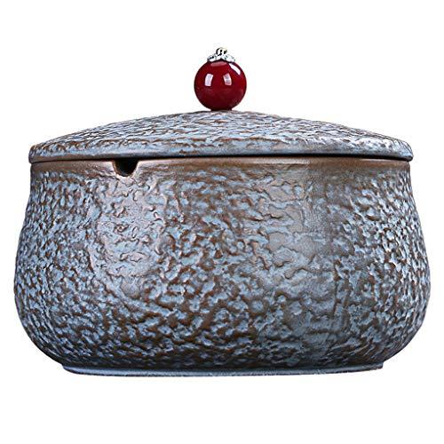 Preisvergleich Produktbild MMZZ Aschenbecher,  tragbarer Keramikaschenbecher mit Deckel,  Zigarettenaschenbecher für den Innenbereich im Freien,  winddichter Aschenbecher mit kratzfester Basis