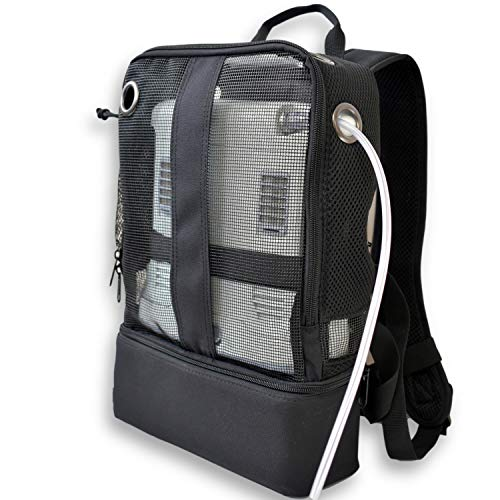 Mesh Backpack For Portable Oxygen Concentrators, Designed for Inogen One G5, Inogen One G3, Respironics SimplyGo Mini, Oxygo, and Caire Freestyle Units, Black/o2Totes (Patented Design)