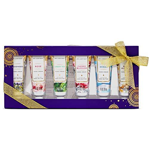 Spa Luxetique Crème pour Mains Sèches, 6PC Crème de Mains, Parfum de Rose, Hydratant pour les Mains avec Beurre de Karité, Cadeau de Saint-Valentin pour les Femmes