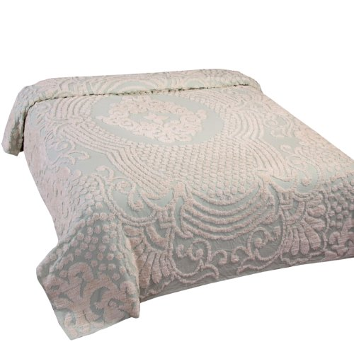 Better Trends Florence Collection in Medallion Design 100% Cotton Tufted Chenille, Full/Double Bedspread, Sage