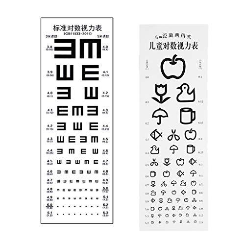 P Prettyia - 2 grafici per test oculari, realizzati in materiale PVC, questa tavola optommetrica è impermeabile, non riflettente e senza odore