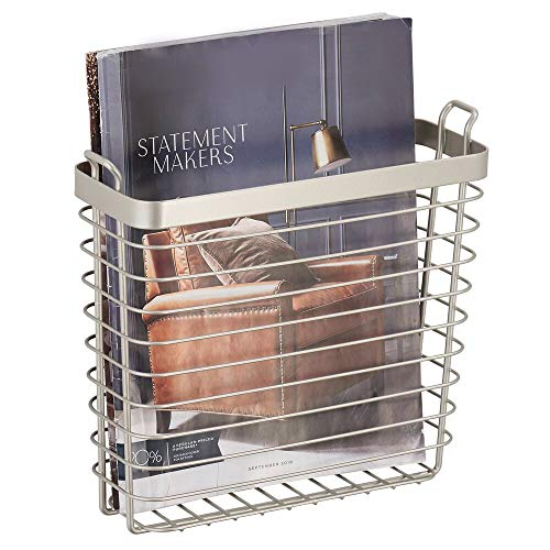 mDesign Metal Wire Farmhouse Wall Mount Magazine Holder, Home Storage Organizer - Space Saving Rack for Magazines, Books, Newspapers, Tablets in Entryway, Mudroom, Bathroom near Toilet, Office - Satin