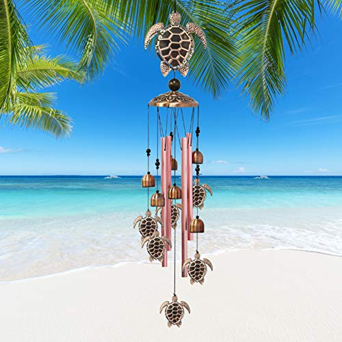 Greenke Turtle Gifts Wind Chime Outdoor, Musical Windchimes with Aluminum Tubes for Outside Decoration, Birthday Gifts for Friends Mom Grandma