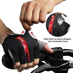 LOHOTEK Guantes de Bicicleta Acolchados SBR de 6 mm de Montaña para Hombres Mujeres Jóvenes Guantes MTB con Acolchado Amortiguador Malla Respirable para Deportes al Aire Libre de Ciclismo (Rojo, S)
