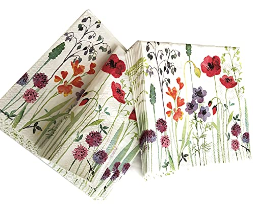 20-ct Garden Floral Napkins Summer Napkins Decoupage Paper Napkins Decorative...