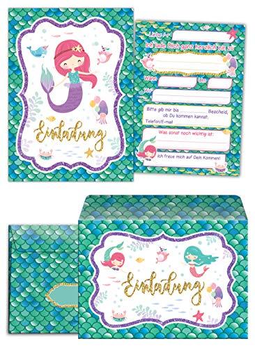 Junaversum 12 Einladungskarten incl. 12 Umschläge zum Kindergeburtstag Mädchen Meerjungfrau Einladungen zum Geburtstag Kinder
