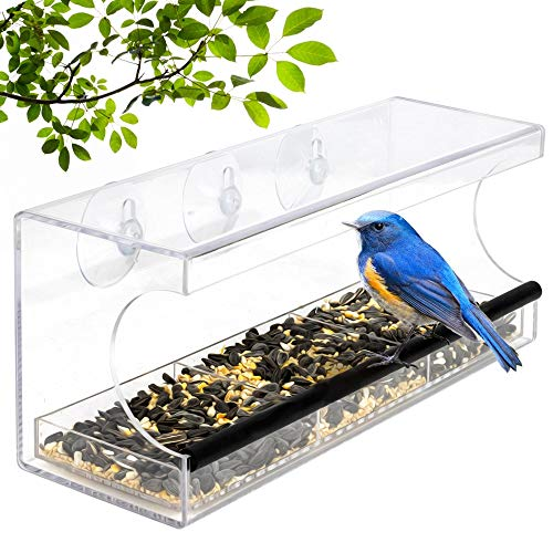 Window Bird Feeder - Transparent Acrylic Design - Wild Bird Feeder - Strong Suction Cups for Easy Outside Installation - Squirrel proof Bird Feeder for Kitchen or Living room Window