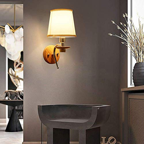 KANJJ-YU Moderno minimalista lámpara de pared LED creativo tela metal cabecera lámpara iluminación diámetro 15 cm alto 30 cm dormitorio comedor sala sala de estar alto sabor
