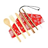 Fine Portable Bamboo Cutlery Travel Eco-Friendly Fork Spoon Set,Reusable Cutlery Travel Set,Outdoor Portable Utensils,Bamboo Spoon, Fork, Knife, Brush, Chopsticks (F)