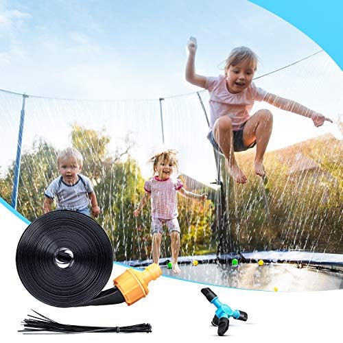 Chomunce Children's Trampoline Sprinkler, Outdoor Backyard Water Park Sprinklers Fun, Boys and Girls Summer Toys, with Rotating Sprinkler for Kids Adults(39 Feet)