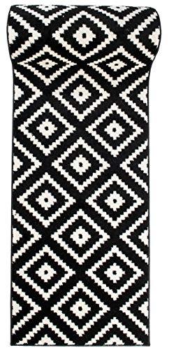 Läufer Teppich Brücke Teppichläufer - Orientalisches Marokkanische - Flur Modern Designer Muster Meterware - Casablanca Kollektion von Carpeto - Schwarz Weiß - 60 x 150 cm