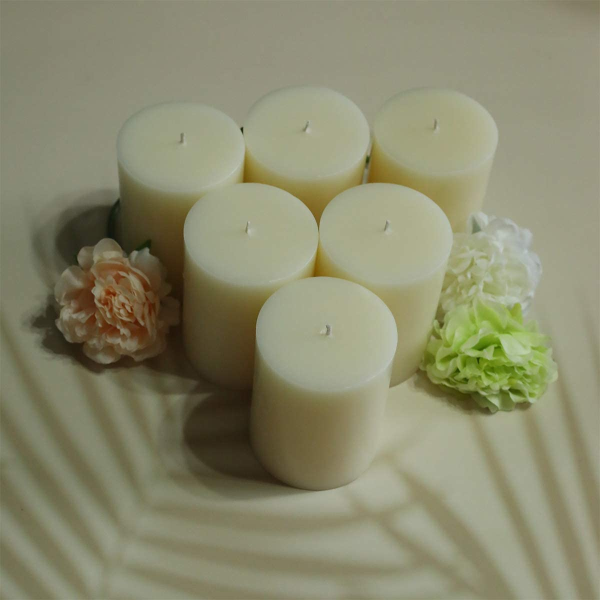 3x4 Pillar Candles Cotton Ivory Vanilla Scented Candles Long Burn Pillar Candles Pillar Candles for Home Cotton Wick Scent Free Paraffin Wax Slow Burning 2 Pack