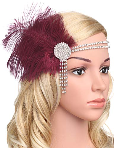 BABEYOND Vintage 1920s Flapper Headband Roaring 20s Great Gatsby Headpiece With Feather 1920s Flapper Gatsby Hair accessories (Wine Red)