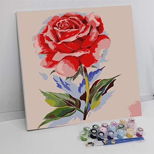 Framed Paint by Number Color Angel DIY Oil Acrylic Paint by Numbers for Adults Sized 12'X16' Painting on Canvas with Frame for Home Decoration (Red Rose)