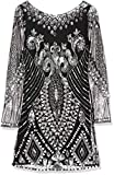 Frock and Frill Women's Embellished Shift Long Sleeve Dress, Black, 16