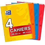 OXFORD Lot de 4 Cahiers Easybook 24x32 cm Couverture Polypro Grands Carreaux Seyès 96 Pages 90g Couleurs Assorties