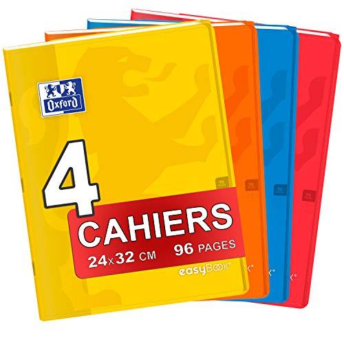 Oxford – Lote de 4 cuadernos Easybook 24 x 32 cm, cuadrados grandes, 96 páginas, grapadas 90 g, tapa de polipropileno, colores surtidos