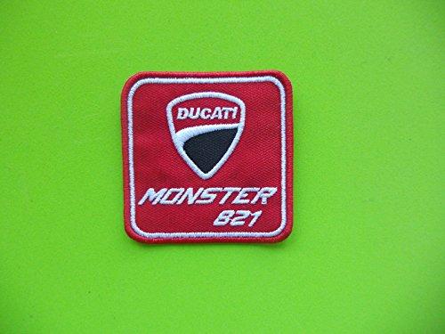 PATCHMANIA Patch, Aufnäher Bestickt Bügelbild, Ducati Monster 821Rot Patch gestickt zum Aufbügeln cm.6x 6,