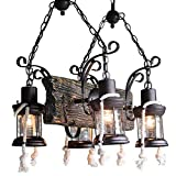 ZAKRLYB Cuatro de cabeza retro unisex lámpara de keroseno de la vendimia de la cuerda de la lámpara industrial europea y americana de estilo de país de caballo linterna creativa de la lámpara de cáñam