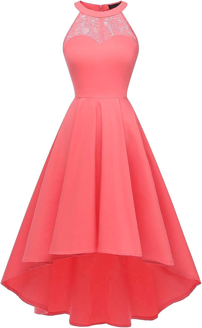 DRESSTELLS-Floral Lace Dress-Halter-Hi-Lo-Party-Cocktail 50's Vintage Dress