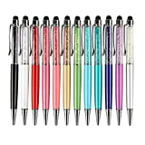 12pcs/pack MengRan Bling Bling 2-in-1 Slim Crystal Diamond Stylus pen and Ink Ballpoint Pens (12 colors)
