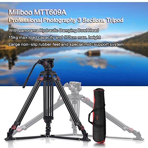 TOPTOO Miliboo MTT609A Fotografia Professionale 3 Sezioni treppiede in lega di alluminio a 360 ° Panorama fluido idraulico Bowl capo Max. Altezza 170cm / 5.6ft carico 15kg Capacità di Canon Nikon Sony