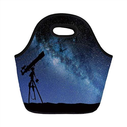 Lonchera portátil, Galaxy, Valle del telescopio bajo el cielo nocturno estrellado Ambiente de la Vía Láctea Astronomía Galaxy, Bolso de mano con aislamiento negro azul oscuro