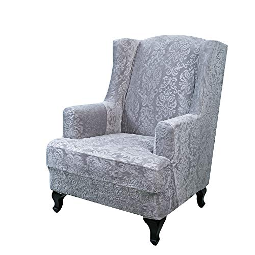 URBANSEASONS Elegant Jacquard Wing Chair Slipcovers,Wing Back Wingback Armchair Chair with Arms Easy Fitted Sofa Cover Covers for Living Room(Grey)
