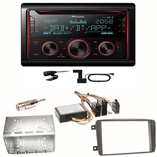 Pioneer FH-S820DAB Bluetooth USB MP3 Autoradio CD FLAC WAV DAB+ Digitalradio WMA Freisprecheinrichtung Einbauset kompatibel mit Mercedes C-Klasse W203 CLK W208 W209