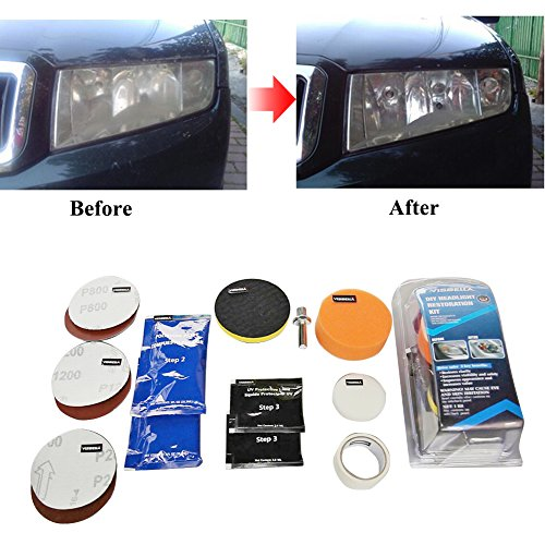Headlight Restoration Kit Professional Car DIY Headlamp Brightener Care Repair Kit Buffer and Polish Lampshade Scratch Polishing Tools Vehicle Head Lense Clean Restore Cleaner Sanding Discs