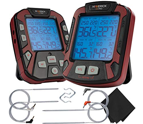 Maverick PRO-Series XR-50 Extended (500FT Range, 4 Probe) Digital Remote Wireless BBQ, Meat & Smoker Thermometer, Black/Red and Z-Cloth Bundle