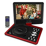 9'Portable DVD Player for Kids, TEKITSFUN 180°Swivel Screen 5 Hours Built-in Rechargeable Battery, Portable CD Player with Remote Control, Red(Christmas & Birthday Gifts)