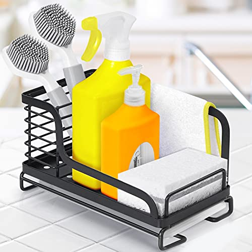 OriwarE Spülbecken Organizer Küchenutensilienhalter mit Abtropfschale für die Küche Caddy Ordnungshelfe Halter Ablage für Schwamm Bürste Rostfreier Edelstahl - Schwarz