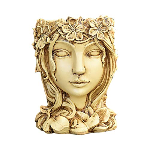 AC1 Head Planter Face Flower Pot Decorative Girl Statue Planter Pot Indoor Outdoor