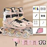 Skates Children Roller Patinaje Femenino Femenino Hombre de Mediana Edad Boys Boys Professional Ajustable Roller Patinaje Full Set Enline Rollers-Engranaje Protector Rosa_L (38-42)