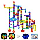 SOMAN 160Pcs Marble Run Sets for Kids, Glowing Marble Race Tracks & Marble Maze Toys with 18 Glow in The Dark Glass Marbles, Marble Run Construction Railway Gift for Girls & Boys