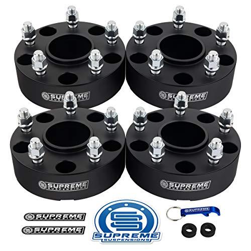"""Supreme Suspensions - 4pc 2"""" Hub Centric Wheel Spacers for 2002-2011 Dodge Ram 1500 2WD 4WD 5x5.5"""" (5x139.7mm) BP with 9/16""""x18 Studs 77.8mm Center Bore w/Lip [Black]"""