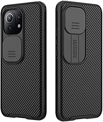 RosyHeart Funda Compatible con Xiaomi Mi 11 Lite 5G, Protección de Cámara Carcasa Compatible con Xiaomi Mi 11 Lite 5G, Cubierta Deslizante Cámara Delgado Ligera Rígida PC Anti-Golpes Caso - Negro