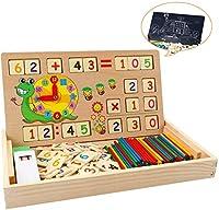 【Scatola di Apprendimento Multifunzionale】: Questa è una scatola di apprendimento multifunzionale in tempo e matematica che consente ai bambini di imparare molto. La scatola è comoda per riporre blocchi e contare bastoncini e l'angolo di posizionamen...