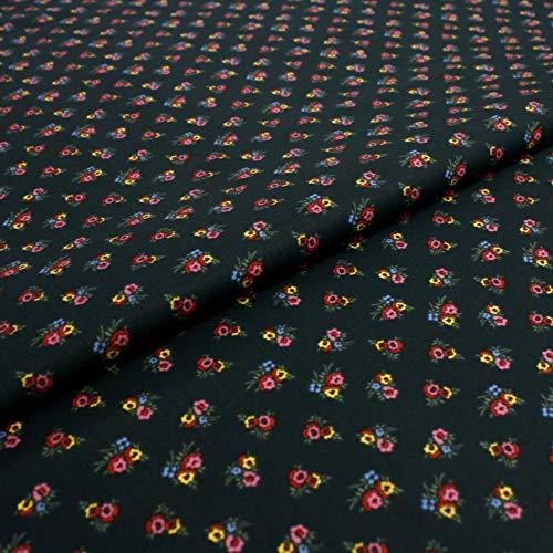 Hans-Textil-Shop 1 Meter Stoff Meterware Bunte Landhaus Blumen (Rosenmuster, Dirndlstoff, Trachtenstoff, Schadstoffgeprüft, Baumwolle) (Grün)
