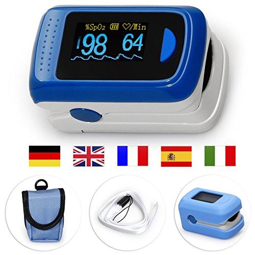 MedX5 (Upgrade 2019) OLED Farbdisplay, Pulsoximeter, Fingerpulsoximeter, Pulsmessgerät, Oximeter, Pulsmesser, zertifiziertes Medizinprodukt mit EXTRA Zubehör