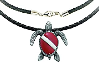 """Innovative Scuba Concepts Dive Flag Turtle Pewter Necklace with 18"""" Cord, GP7201"""
