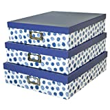 Soul & Lane Decorative Storage Cardboard Boxes with Lids | Blue Spots - Set of 3 | Paperboard Nesting Boxes for Organizing