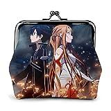 Anime Kirito Sword Art Online Monedero de cuero con cierre de gran capacidad para mujeres y hombres cambio monedero carteras bolsa de almacenamiento bolsas de embrague