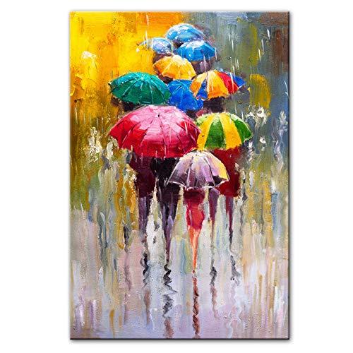 HYFBH Retrato Abstracto Pinturas al óleo Imprimir en Lienzo Arte Impresiones Chica sosteniendo un Paraguas Arte de la Pared Imágenes Decoración de la Pared del hogar-60x80 cm con Marco