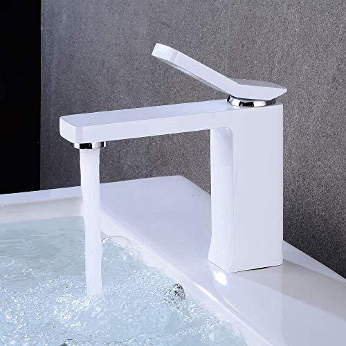 CAIJINJIN Blanco elegante galvanoplastia tocador de baño grifo de cobre hogar moderno hotel caliente y fría bajo Ajuste contrarrestar la cuenca orificio de grifo hermoso práctica Cuarto de baño