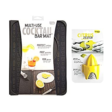 Talisman Designs Multi-Use Cocktail Bar Mat with Citrus Zester & Reamer
